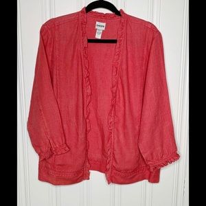 Chico's Red Open Front Linen Cardigan Sz 2=M (12)
